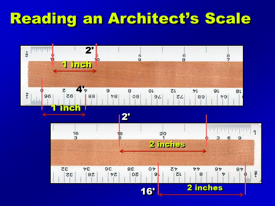 Reading an Architects Scale 1 inch 2' 4' 2 inches 2'2' 16'16'