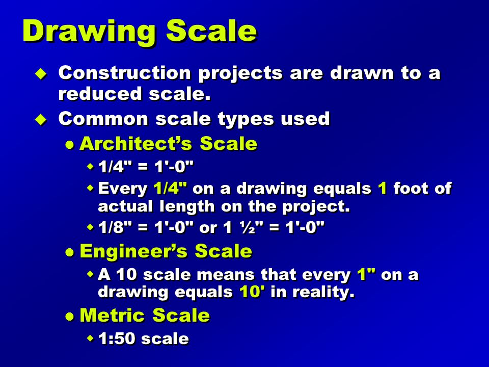 Types of Scales Architects Scale Engineers Scale Architects Scale 1 and 1/8 Architects Scale 1/16 and 1/32