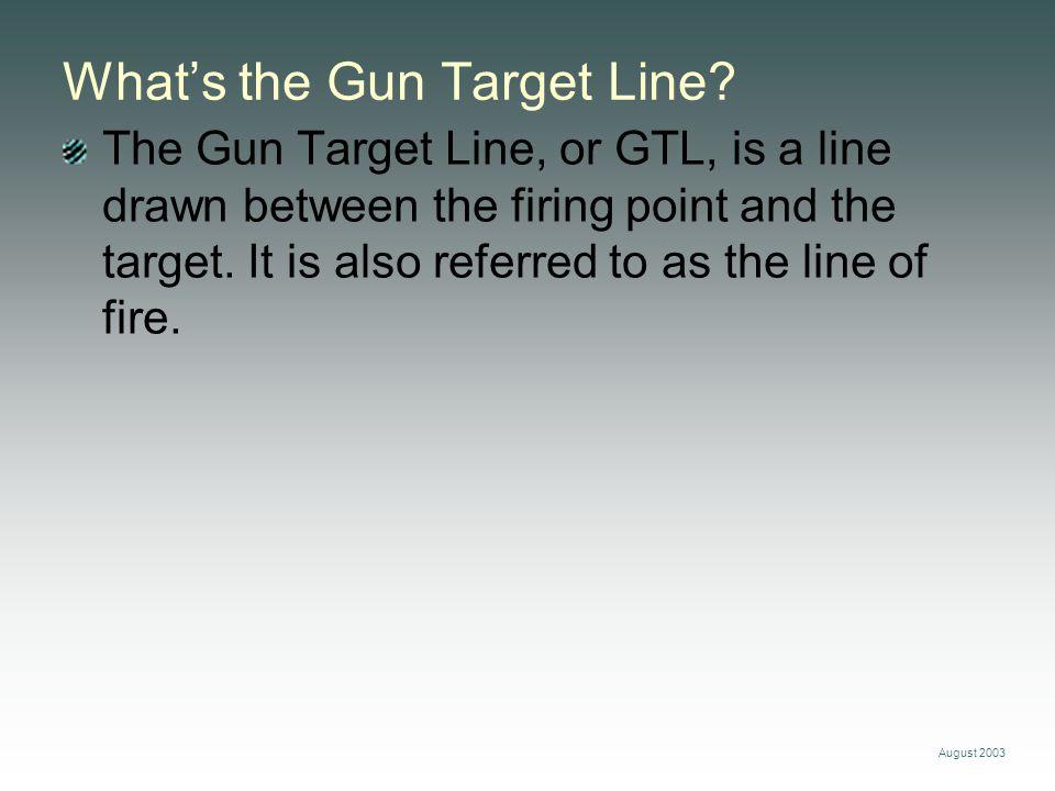 August 2003 Plot the firing point.Gun Target Line Firing Point Establish the gun target line.