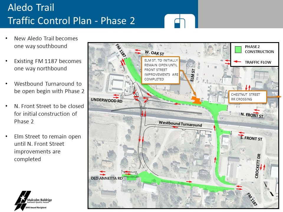 Aledo Trail Traffic Control Plan - Phase 2 New Aledo Trail becomes one way southbound Existing FM 1187 becomes one way northbound Westbound Turnaround to be open begin with Phase 2 N.