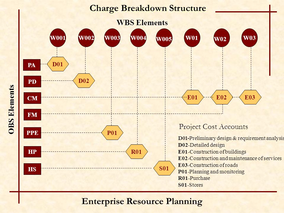 Enterprise Resource Planning PA W001 WBS Elements Charge Breakdown Structure OBS Elements W002W003W03 W02 W01 W005 W004 PD CM FM PPE HP HS D01 D02 P01 R01 S01 E01E02E03 D01 -Preliminary design & requirement analysis D02-Detailed design E01-Construction of buildings E02-Construction and maintenance of services E03-Construction of roads P01-Planning and monitoring R01-Purchase S01-Stores Project Cost Accounts