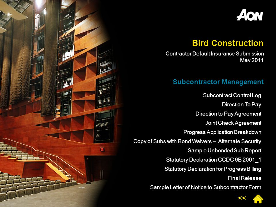 Bird Construction Subcontractor Management Subcontract Control Log Direction To Pay Direction to Pay Agreement Joint Check Agreement Progress Applicat
