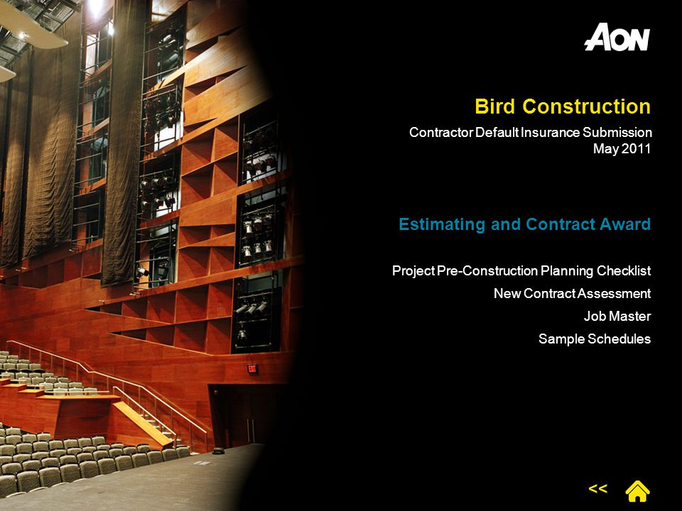 Bird Construction Estimating and Contract Award Project Pre-Construction Planning Checklist New Contract Assessment Job Master Sample Schedules << Con