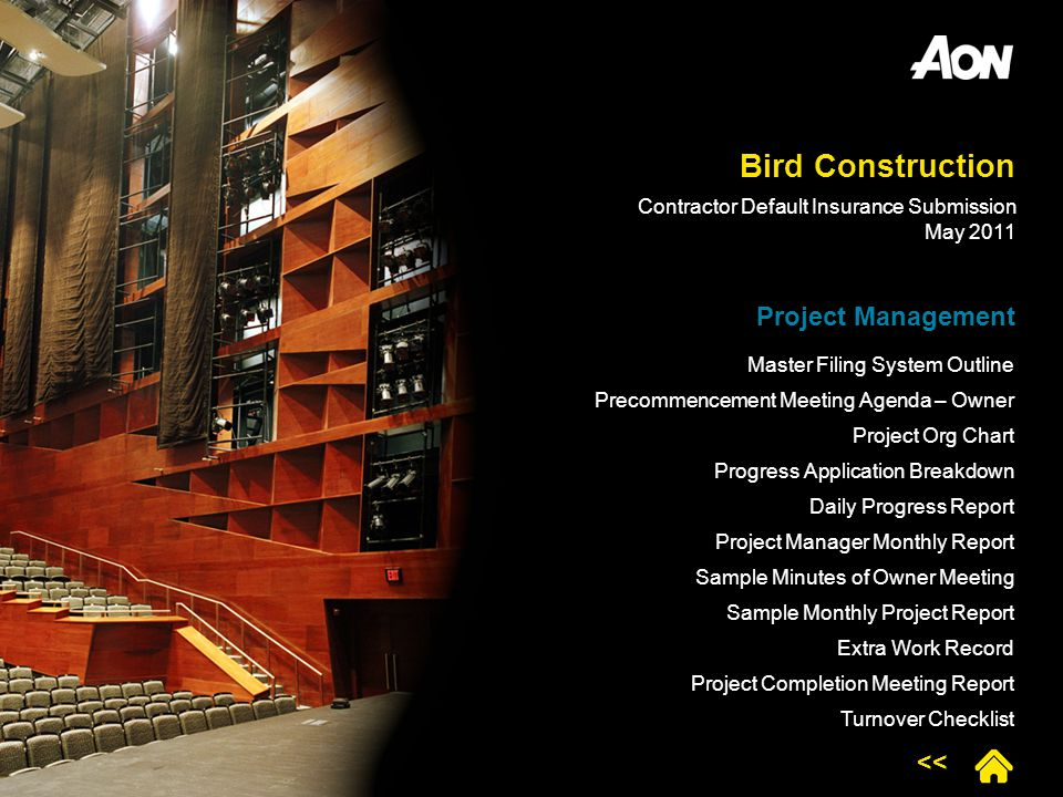 Bird Construction Project Management Master Filing System Outline Precommencement Meeting Agenda – Owner Project Org Chart Progress Application Breakd