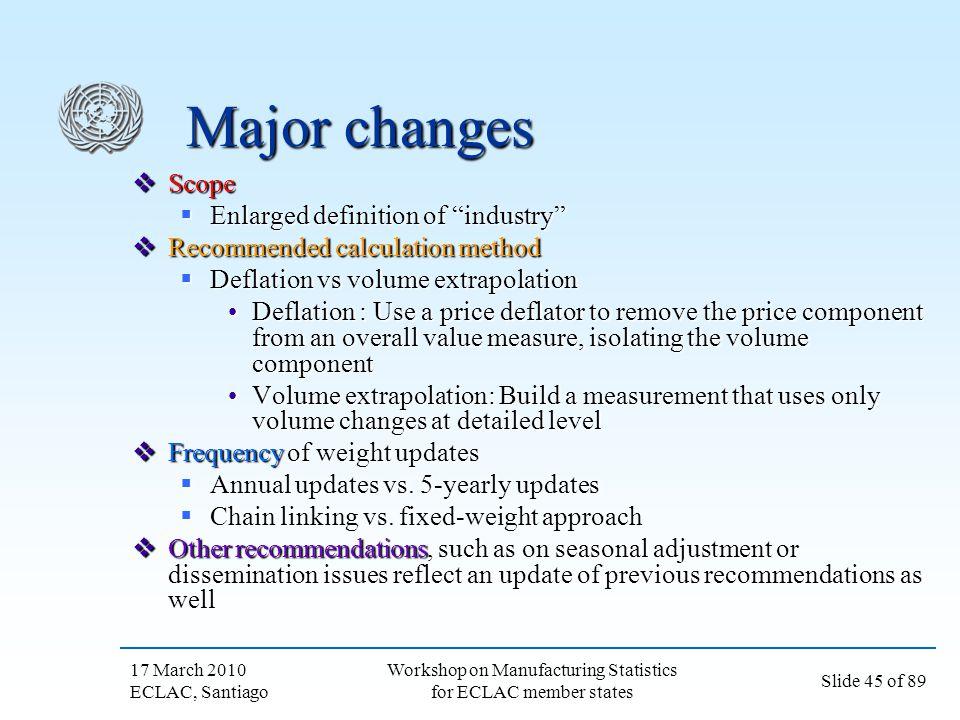 17 March 2010 ECLAC, Santiago Slide 45 of 89 Workshop on Manufacturing Statistics for ECLAC member states Major changes Scope Scope Enlarged definitio
