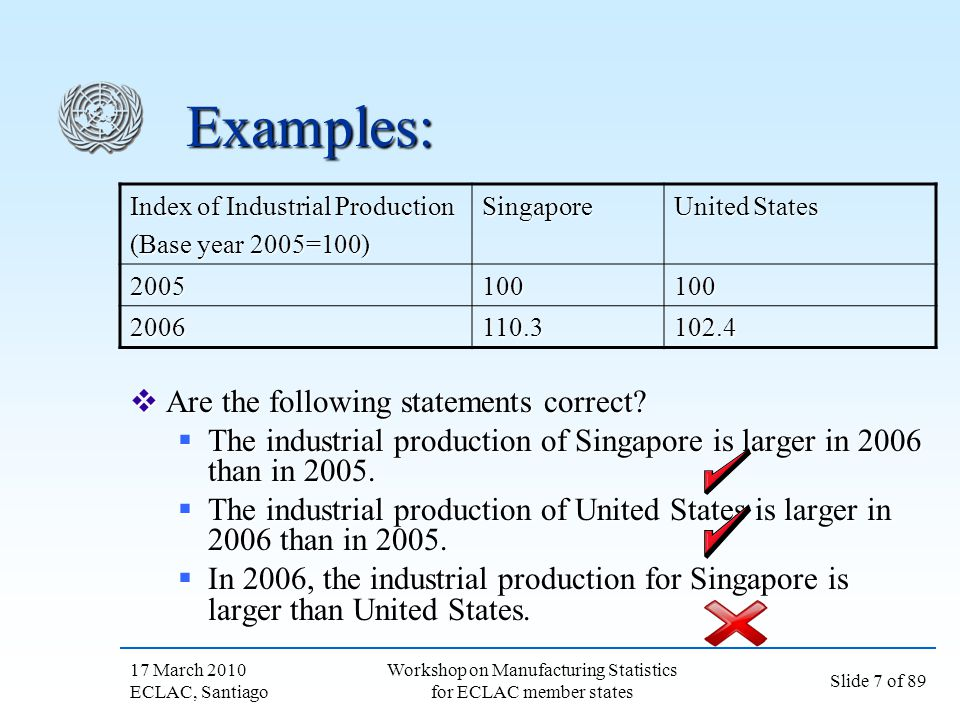 17 March 2010 ECLAC, Santiago Slide 78 of 89 Workshop on Manufacturing Statistics for ECLAC member states Volume extrapolation Possible input data: Possible input data: Output variables Output variables Physical quantity of output (at individual productPhysical quantity of output (at individual product Input variables Input variables Labor inputLabor input Materials consumedMaterials consumed While input data are sometimes easier to obtain, they assume a fixed relationship between input and output While input data are sometimes easier to obtain, they assume a fixed relationship between input and output