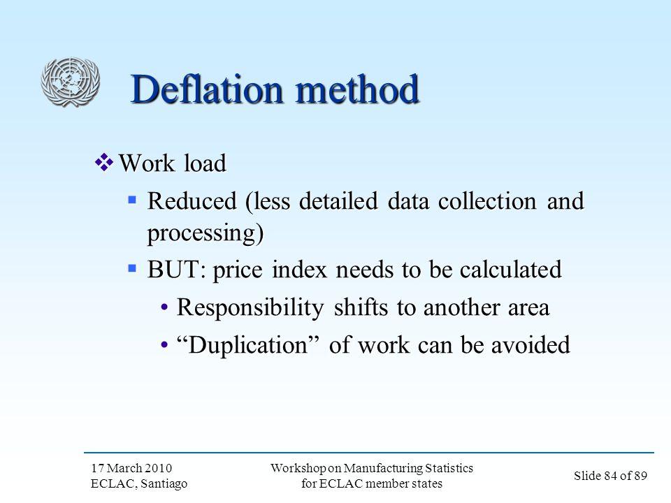 17 March 2010 ECLAC, Santiago Slide 84 of 89 Workshop on Manufacturing Statistics for ECLAC member states Deflation method Work load Work load Reduced