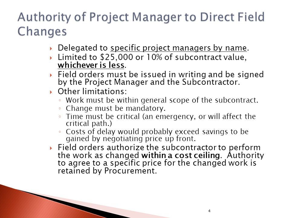 Delegated to specific project managers by name.