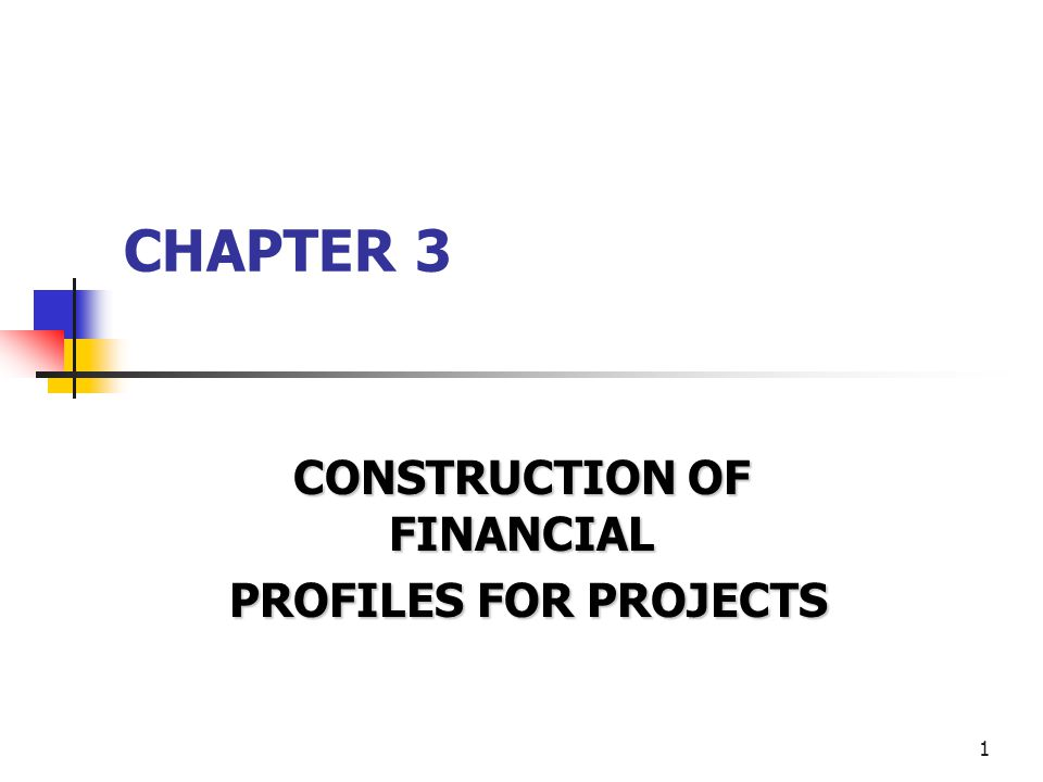 1 CHAPTER 3 CONSTRUCTION OF FINANCIAL PROFILES FOR PROJECTS PROFILES FOR PROJECTS