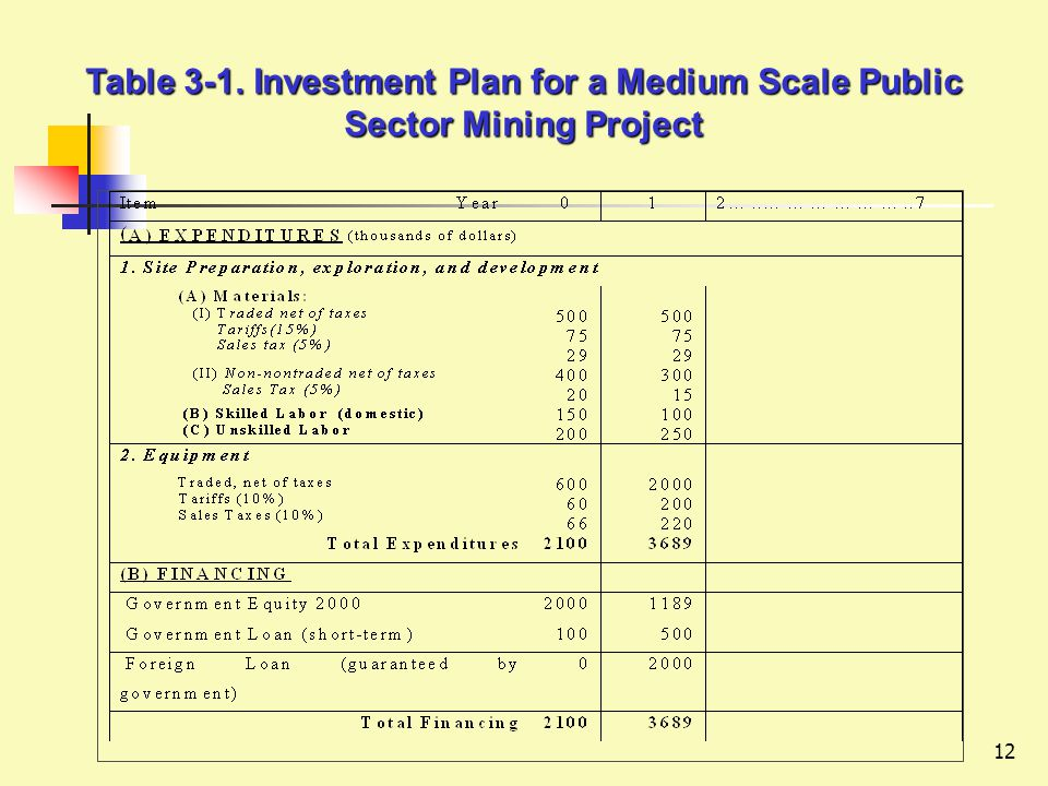 12 Table 3-1. Investment Plan for a Medium Scale Public Sector Mining Project