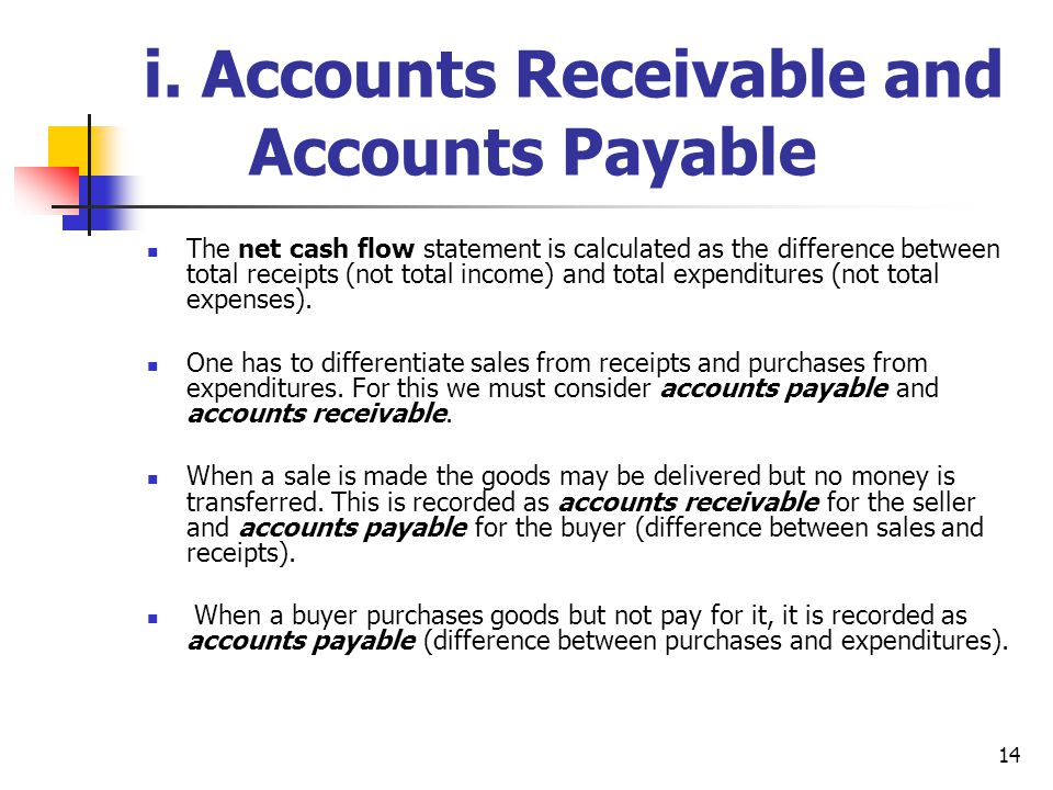 14 i. Accounts Receivable and Accounts Payable The net cash flow statement is calculated as the difference between total receipts (not total income) a