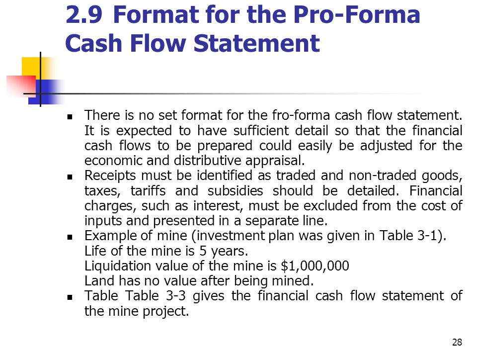 28 2.9Format for the Pro-Forma Cash Flow Statement There is no set format for the fro-forma cash flow statement. It is expected to have sufficient det