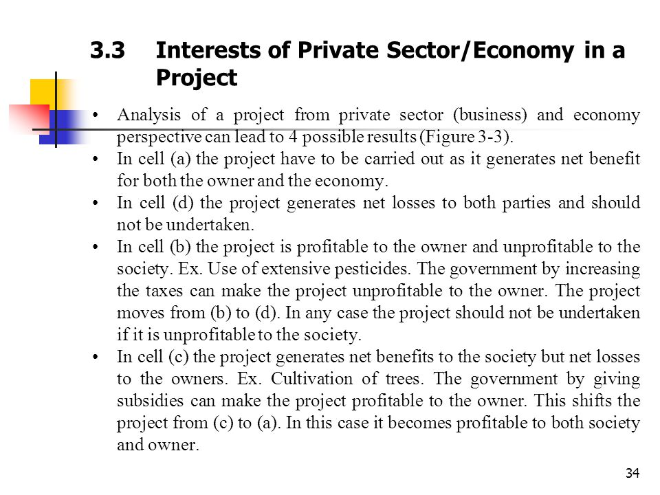 34 3.3Interests of Private Sector/Economy in a Project Analysis of a project from private sector (business) and economy perspective can lead to 4 poss