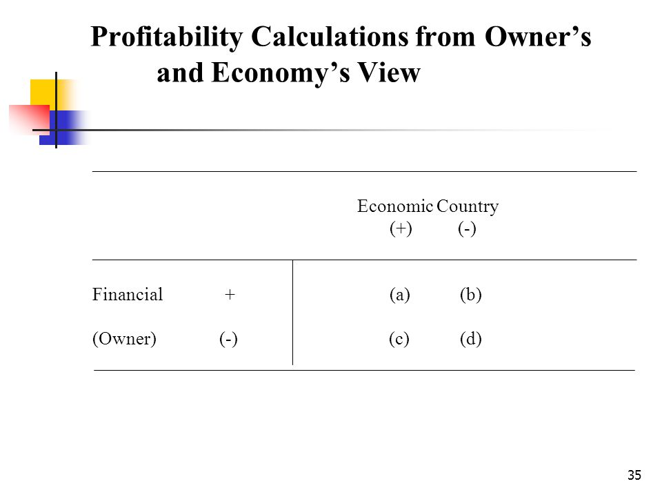 35 Profitability Calculations from Owners and Economys View ___________________________________________________________ Economic Country (+) (-) _____