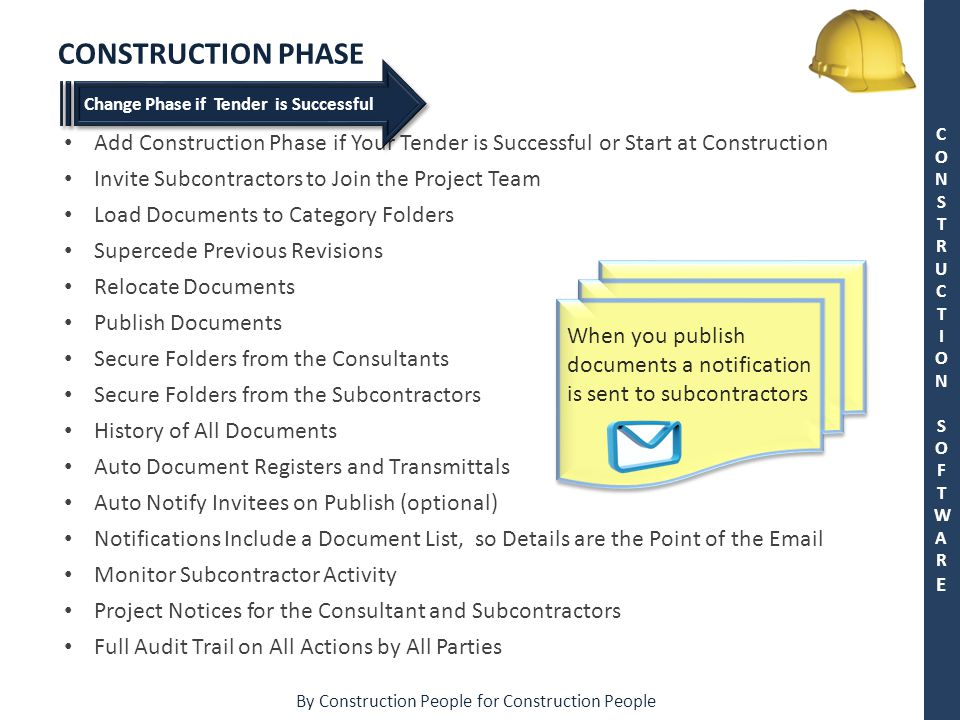 By Construction People for Construction People CONSTRUCTION SOFTWARECONSTRUCTION SOFTWARE CONSTRUCTION PHASE Add Construction Phase if Your Tender is