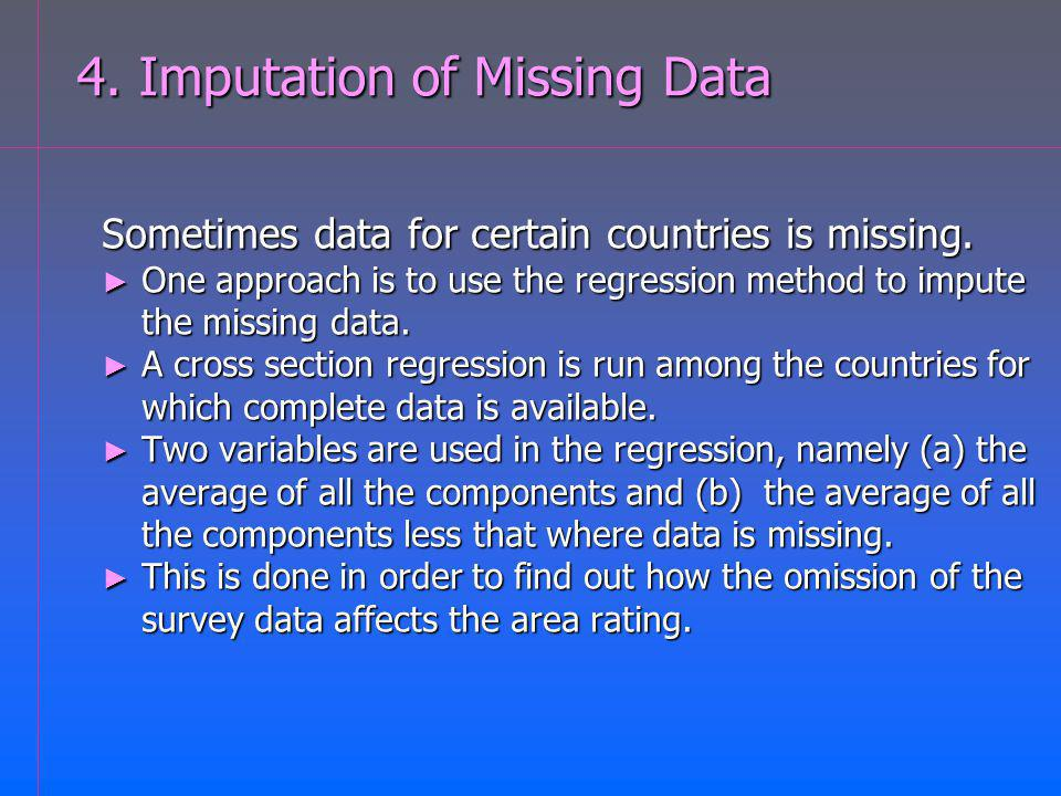 4. Imputation of Missing Data Sometimes data for certain countries is missing.
