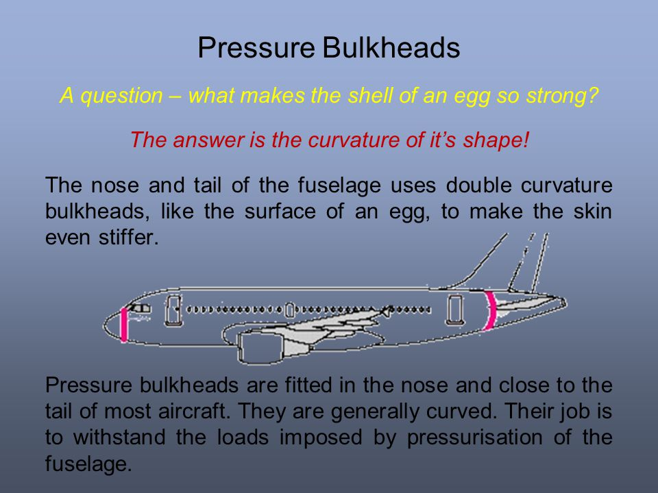 Pressure Bulkheads A question – what makes the shell of an egg so strong? The answer is the curvature of its shape! The nose and tail of the fuselage