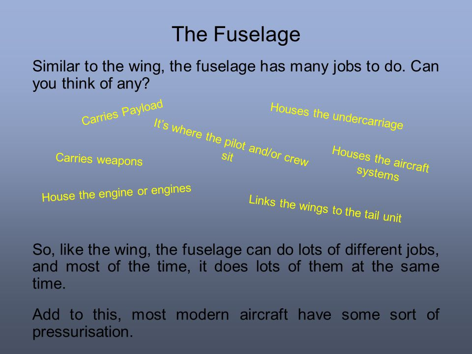 The Fuselage Similar to the wing, the fuselage has many jobs to do. Can you think of any? So, like the wing, the fuselage can do lots of different job