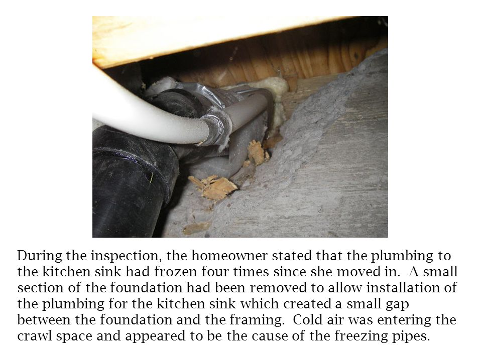 This is a different house than the previous slide, however it has a similar defect. The plumbing drain line for the shower in the master bathroom had