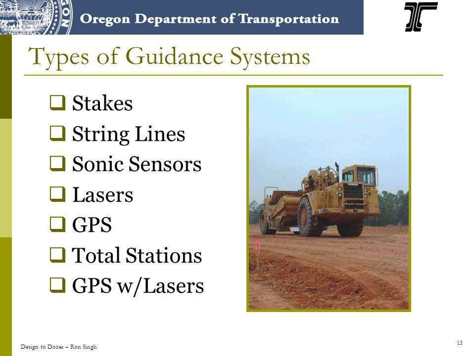 15 Types of Guidance Systems Stakes String Lines Sonic Sensors Lasers GPS Total Stations GPS w/Lasers Design to Dozer – Ron Singh