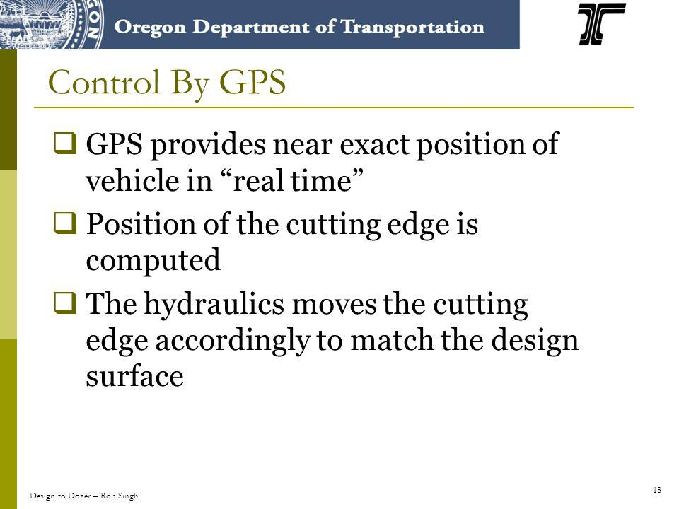 18 GPS provides near exact position of vehicle in real time Position of the cutting edge is computed The hydraulics moves the cutting edge accordingly to match the design surface Control By GPS Design to Dozer – Ron Singh
