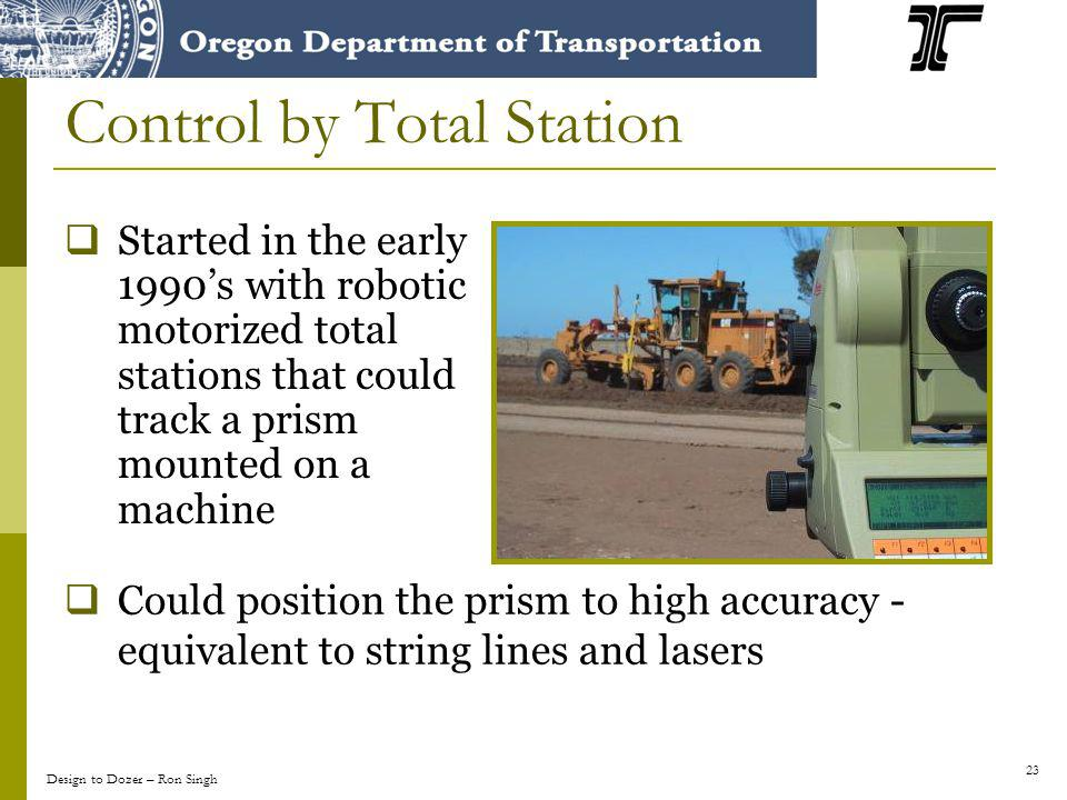23 Control by Total Station Started in the early 1990s with robotic motorized total stations that could track a prism mounted on a machine Could posit