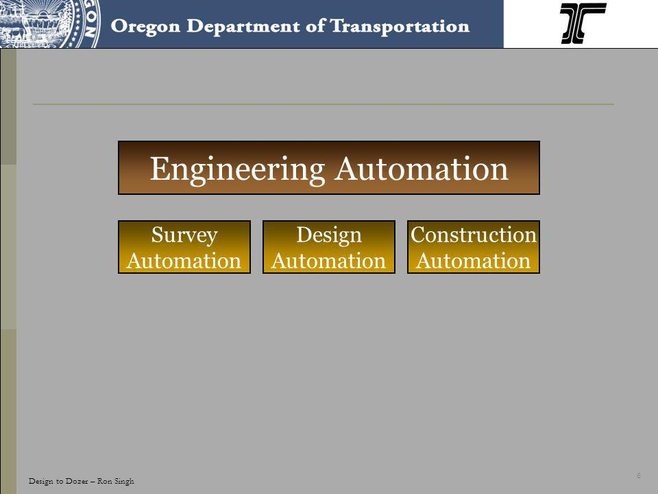 6 Engineering Automation Design Automation Construction Automation Survey Automation Design to Dozer – Ron Singh