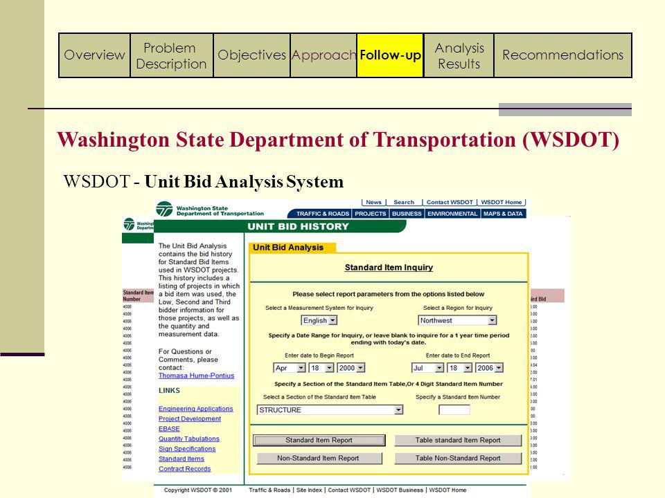 WSDOT - Unit Bid Analysis System Washington State Department of Transportation (WSDOT) Follow-up ApproachObjectivesOverview Problem Description Analysis Results Recommendations