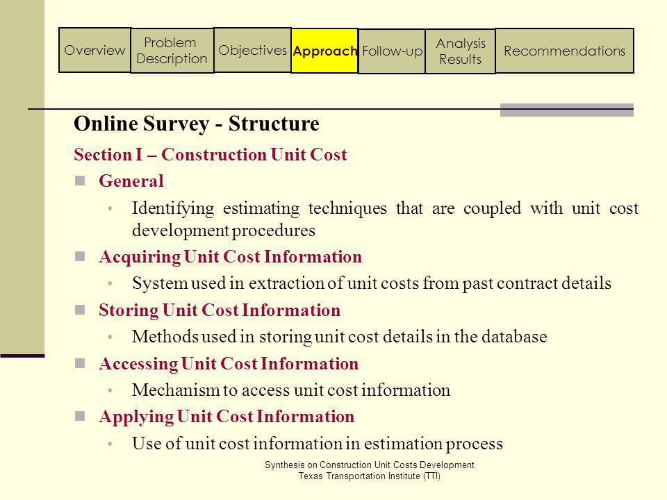 Online Survey - Results General Section Synthesis on Construction Unit Costs Development Texas Transportation Institute (TTI) Approach ObjectivesOverview Problem Description Follow-up Analysis Results Recommendations