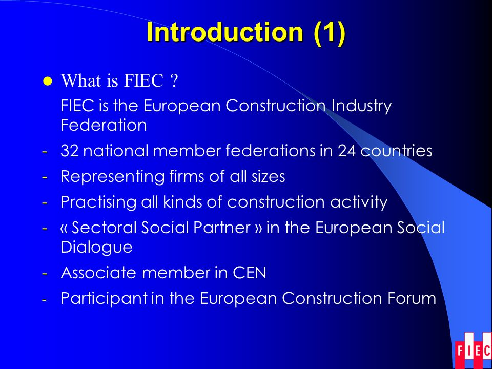 Introduction (2) The sector in Europe Total construction 2001 (EU 15): 868 billion EURO - - 10% of GDP; 48,9% of Gross fixed capital formation - 1,9 million enterprises - - 11 million operatives - - Europes largest industrial employer - - 26 million workers depend, directly or indirectly, on the sector - - Multiplier effect (1=2)