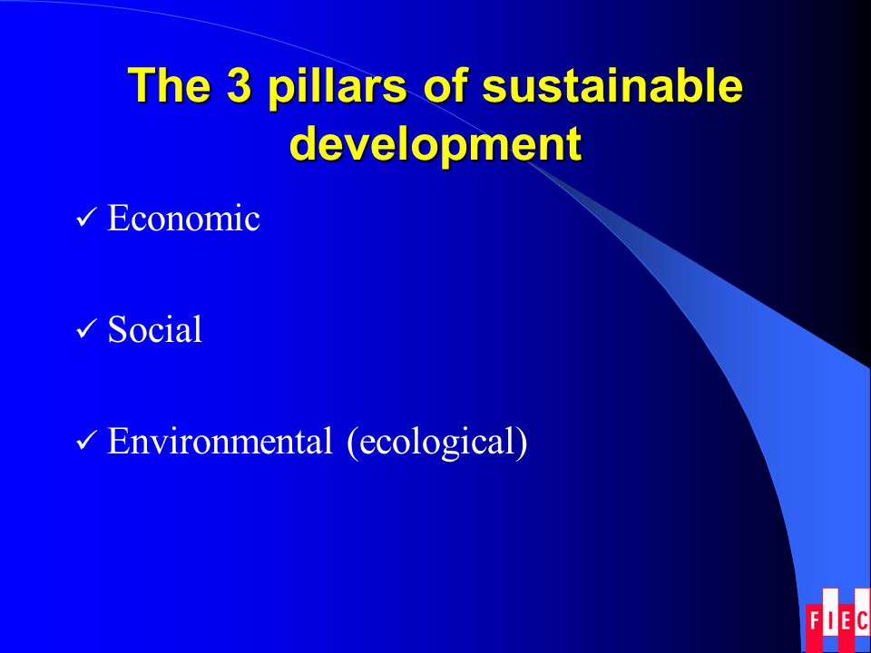 The 3 pillars of sustainable development Economic Social Environmental (ecological)