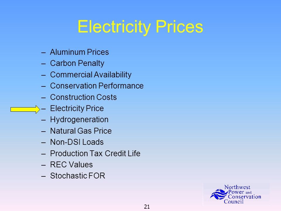 21 Electricity Prices –Aluminum Prices –Carbon Penalty –Commercial Availability –Conservation Performance –Construction Costs –Electricity Price –Hydr