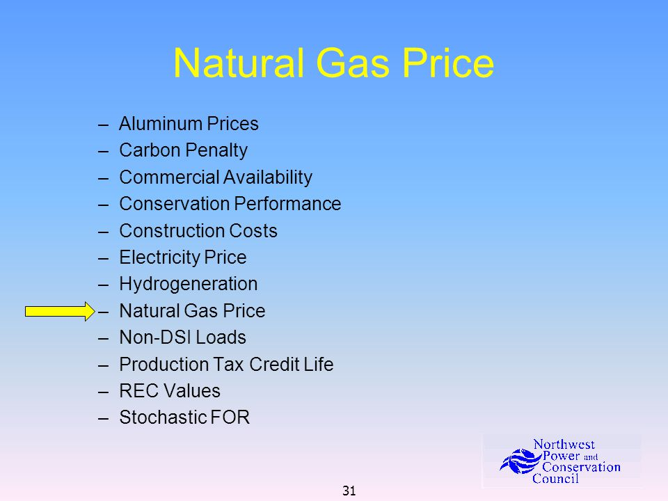 31 Natural Gas Price –Aluminum Prices –Carbon Penalty –Commercial Availability –Conservation Performance –Construction Costs –Electricity Price –Hydrogeneration –Natural Gas Price –Non-DSI Loads –Production Tax Credit Life –REC Values –Stochastic FOR
