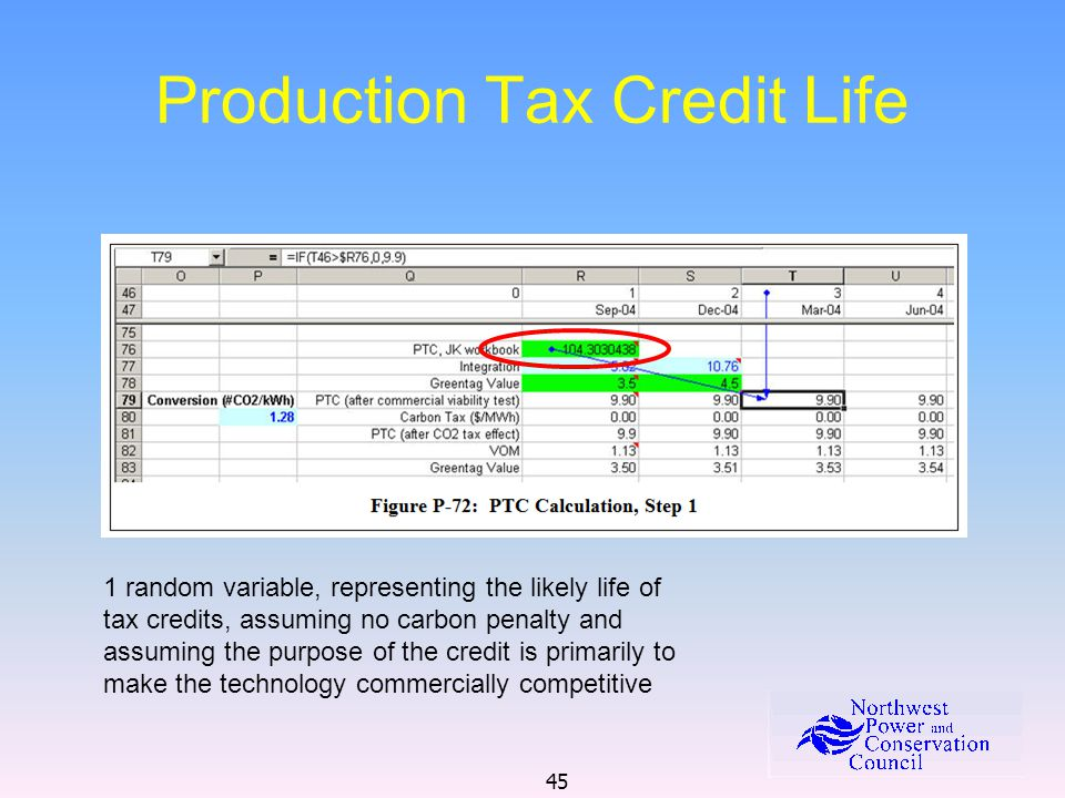 45 Production Tax Credit Life 1 random variable, representing the likely life of tax credits, assuming no carbon penalty and assuming the purpose of the credit is primarily to make the technology commercially competitive
