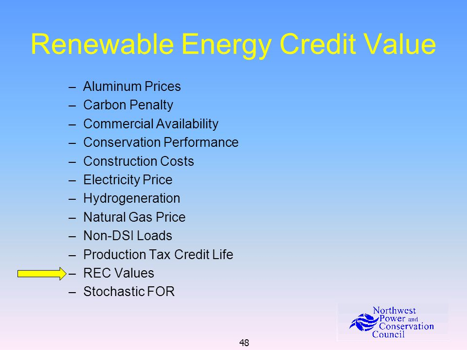 48 Renewable Energy Credit Value –Aluminum Prices –Carbon Penalty –Commercial Availability –Conservation Performance –Construction Costs –Electricity Price –Hydrogeneration –Natural Gas Price –Non-DSI Loads –Production Tax Credit Life –REC Values –Stochastic FOR