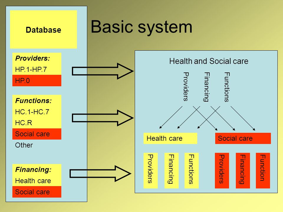 Basic system Database Health careSocial care Health and Social care ProvidersFinancingFunctions ProvidersFinancingFunction ProvidersFinancingFunctions HC.R Other Functions: Social care Providers: HP.1-HP.7 HP.0 HC.1-HC.7 Financing: Health care Social care