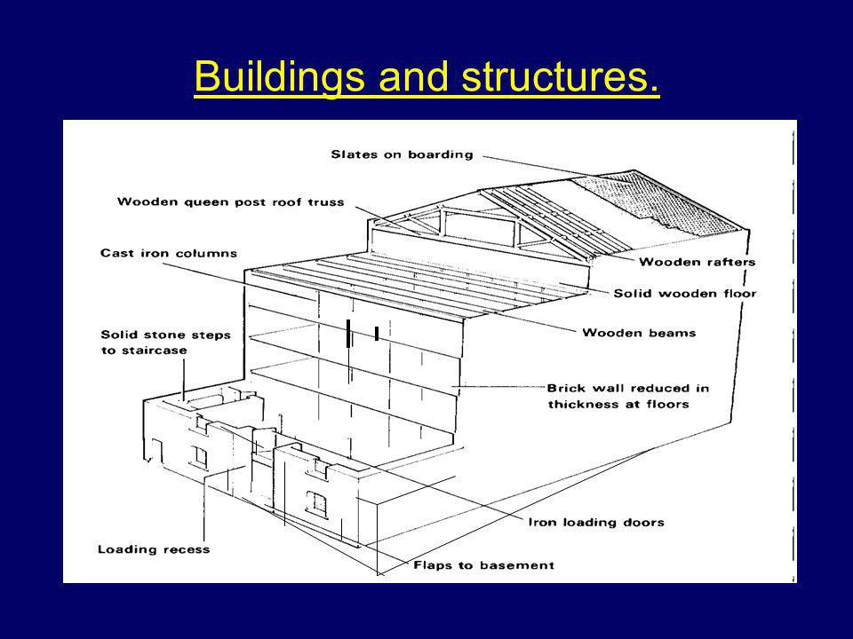 Structural steel High number of design options Skeletal framework often complex Loads carried by beams Structure is covered by cladding Large use of glass, polycarbonate and plastic Large shopping centres, sports centres and multi-storey offices.