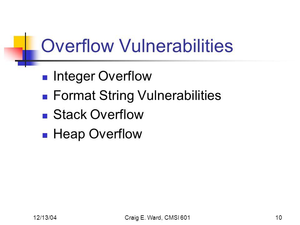 12/13/04Craig E. Ward, CMSI 60110 Overflow Vulnerabilities Integer Overflow Format String Vulnerabilities Stack Overflow Heap Overflow
