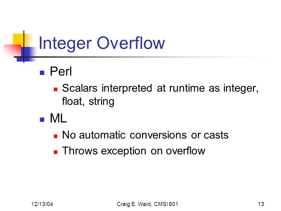 12/13/04Craig E. Ward, CMSI 60113 Integer Overflow Perl Scalars interpreted at runtime as integer, float, string ML No automatic conversions or casts