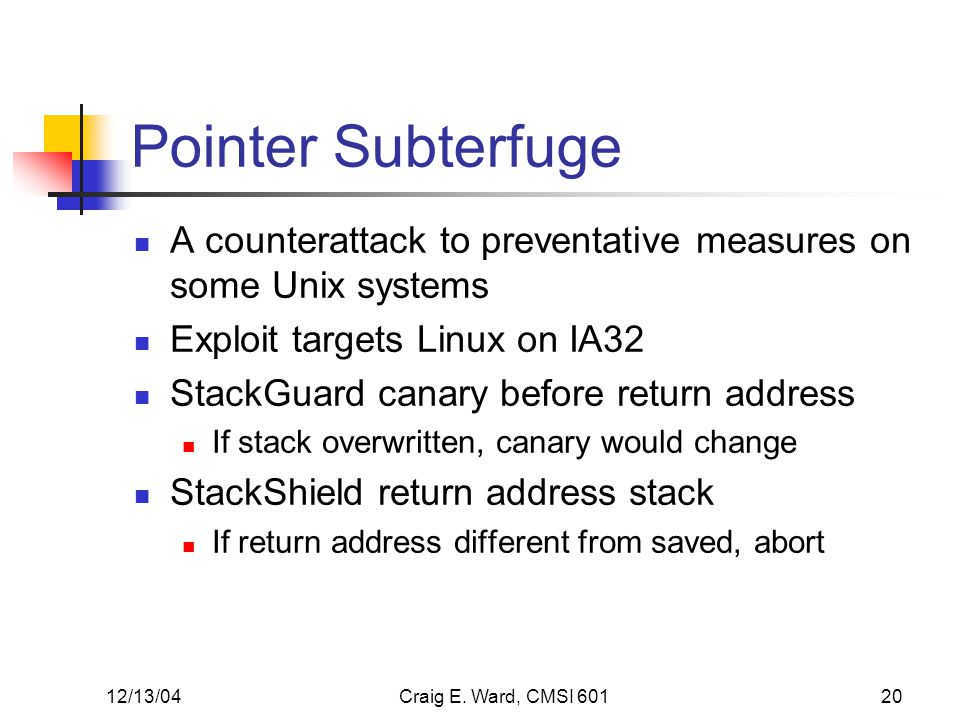 12/13/04Craig E. Ward, CMSI 60120 Pointer Subterfuge A counterattack to preventative measures on some Unix systems Exploit targets Linux on IA32 Stack