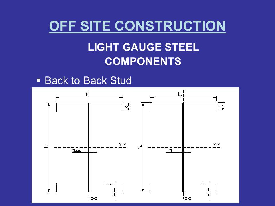OFF SITE CONSTRUCTION LIGHT GAUGE STEEL COMPONENTS Back to Back Stud