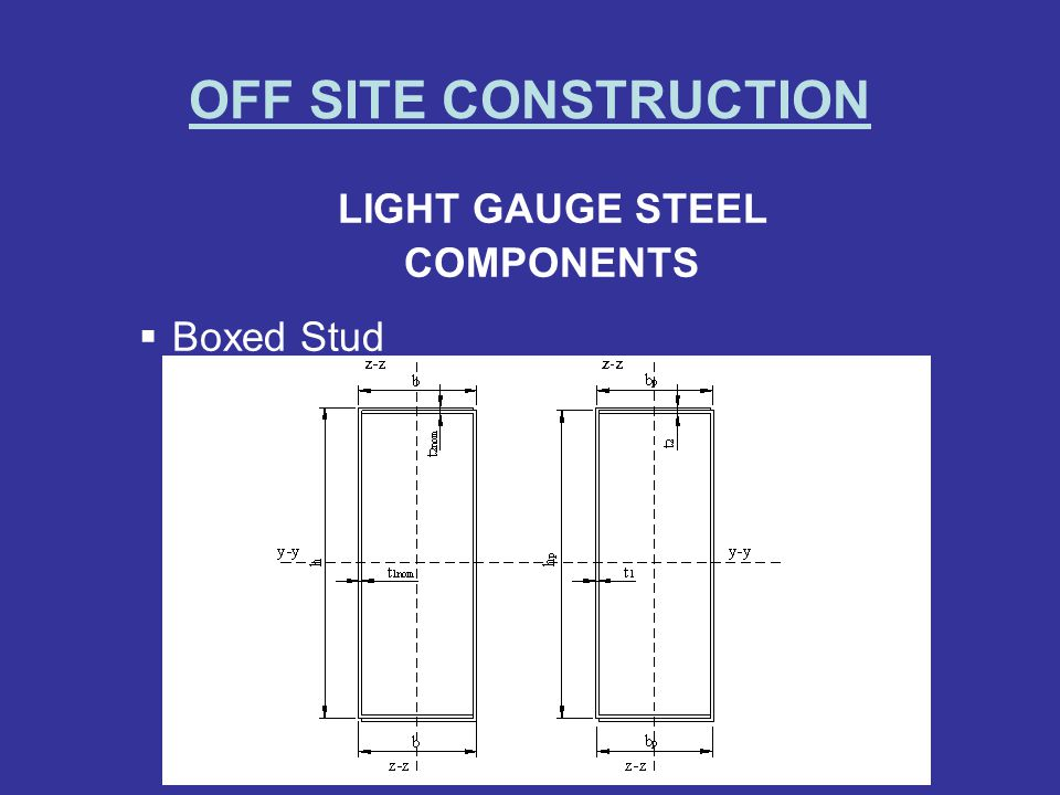 OFF SITE CONSTRUCTION LIGHT GAUGE STEEL COMPONENTS Boxed Stud
