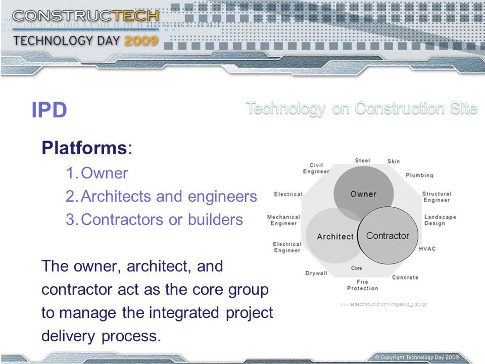 Platforms: 1.Owner 2.Architects and engineers 3.Contractors or builders The owner, architect, and contractor act as the core group to manage the integrated project delivery process.