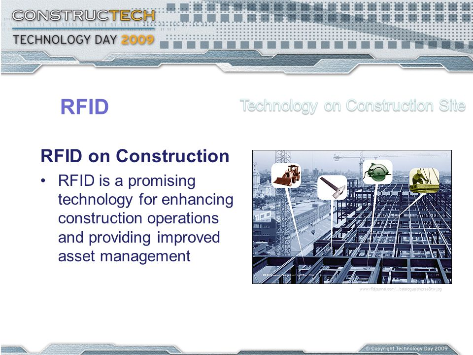 RFID RFID on Construction RFID is a promising technology for enhancing construction operations and providing improved asset management www.rfidjournal.com/.../catalogue/phprss8xw.jpg