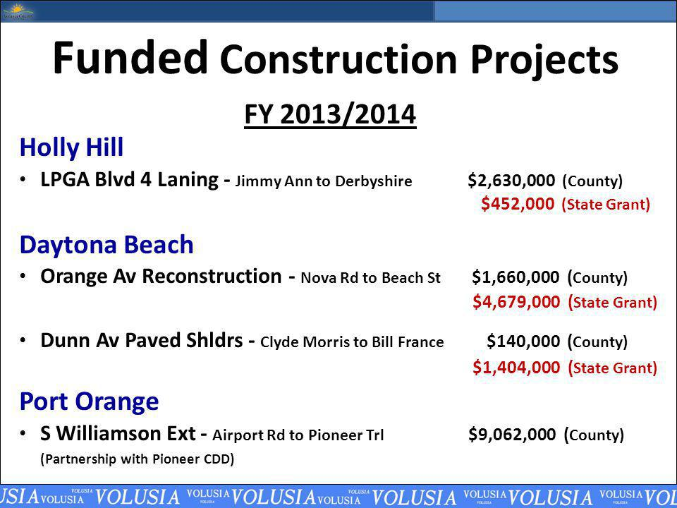 Funded Construction Projects FY 2013/2014 Holly Hill LPGA Blvd 4 Laning - Jimmy Ann to Derbyshire $2,630,000 (County) $452,000 (State Grant) Daytona Beach Orange Av Reconstruction - Nova Rd to Beach St $1,660,000 ( County) $4,679,000 ( State Grant) Dunn Av Paved Shldrs - Clyde Morris to Bill France $140,000 ( County) $1,404,000 ( State Grant) Port Orange S Williamson Ext - Airport Rd to Pioneer Trl $9,062,000 ( County) (Partnership with Pioneer CDD)