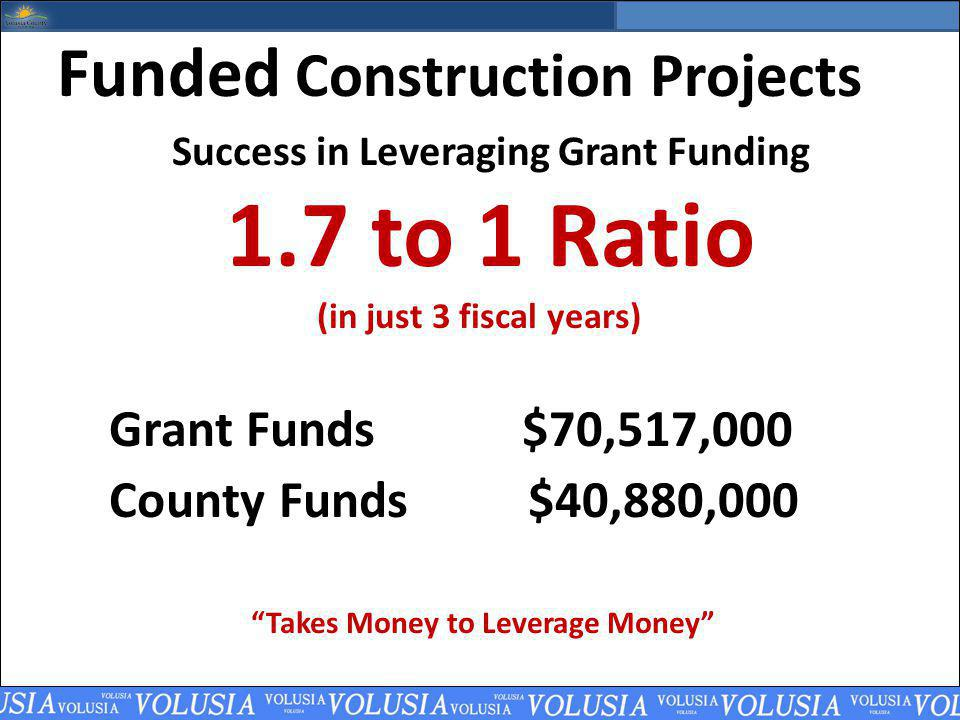 Funded Construction Projects Success in Leveraging Grant Funding 1.7 to 1 Ratio (in just 3 fiscal years) Grant Funds $70,517,000 County Funds $40,880,000 Takes Money to Leverage Money
