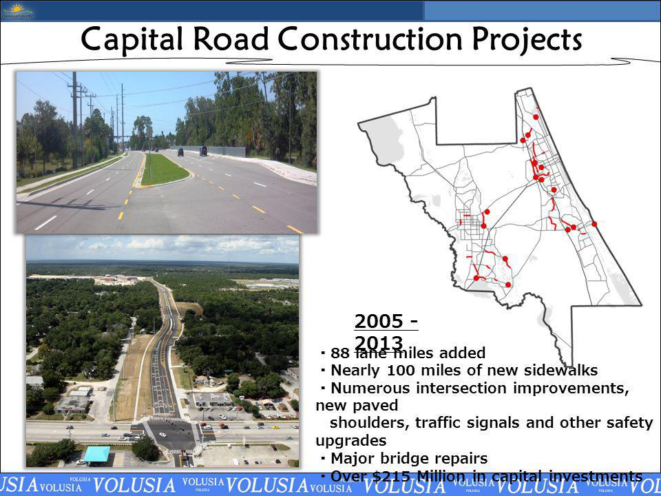 Capital Road Construction Projects 88 lane miles added Nearly 100 miles of new sidewalks Numerous intersection improvements, new paved shoulders, traffic signals and other safety upgrades Major bridge repairs Over $215 Million in capital investments 2005 - 2013