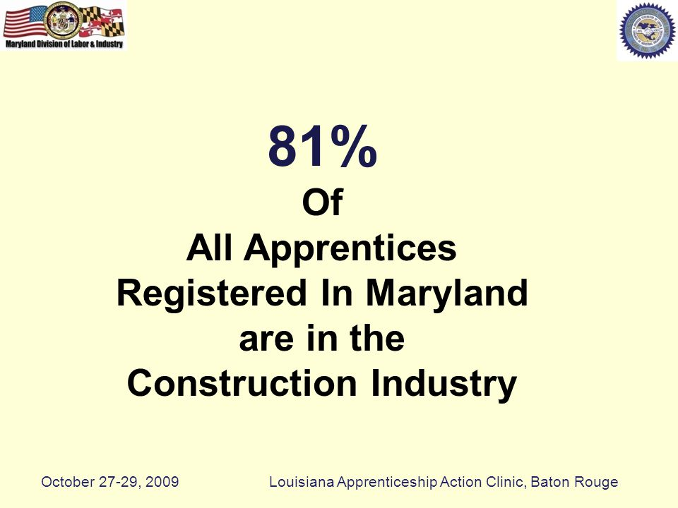 81% Of All Apprentices Registered In Maryland are in the Construction Industry October 27-29, 2009Louisiana Apprenticeship Action Clinic, Baton Rouge