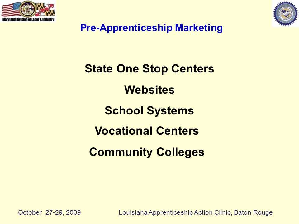 Pre-Apprenticeship Marketing State One Stop Centers Websites School Systems Vocational Centers Community Colleges October 27-29, 2009Louisiana Apprenticeship Action Clinic, Baton Rouge