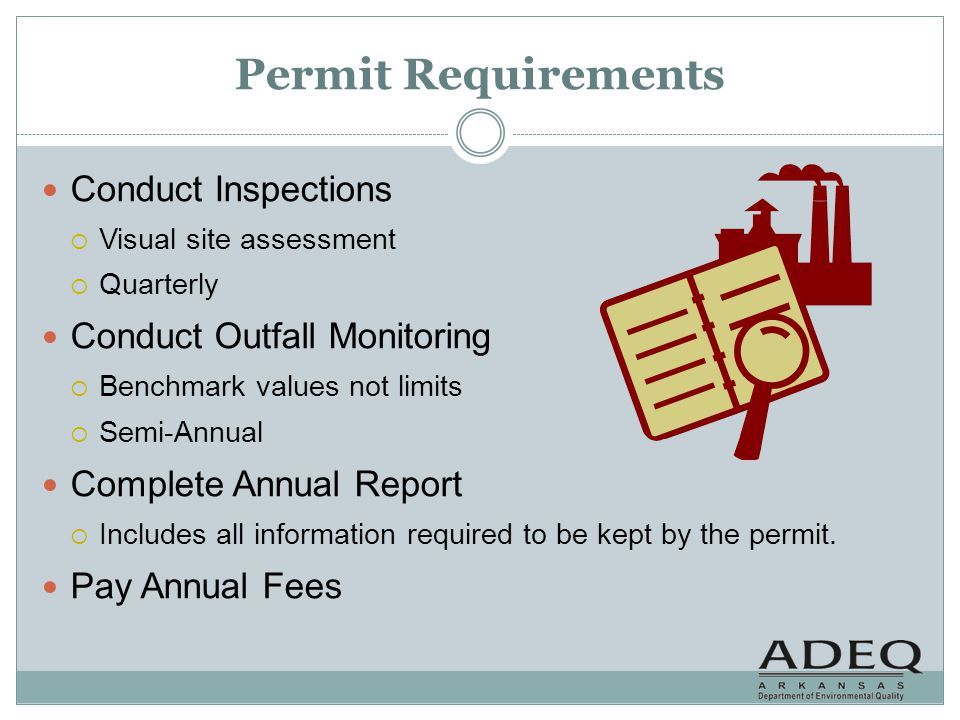 Outfall Monitoring Every facility must sample (at a minimum) for the following parameters at the outfall.